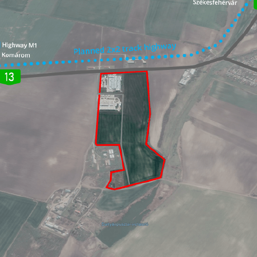Kisber - aerial view of the industrial area for sale